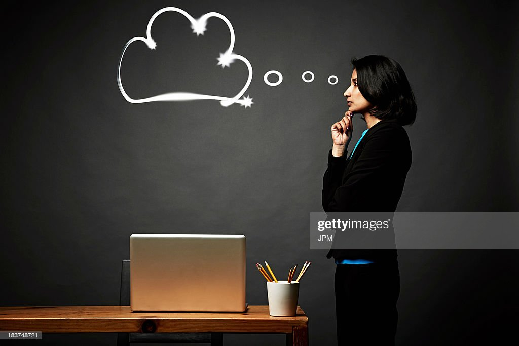 Woman contemplating problem : Stock Photo