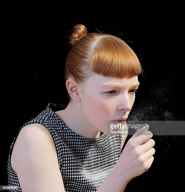 woman coughing - cough stock pictures, royalty-free photos & images