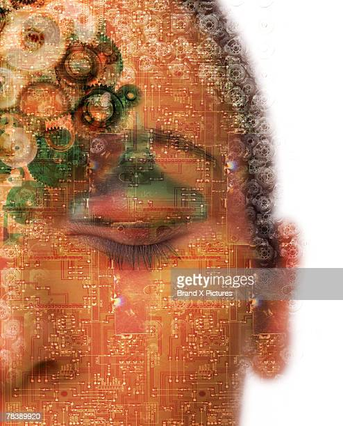 Woman covered with circuits