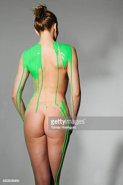 Woman Covered with Green Paint