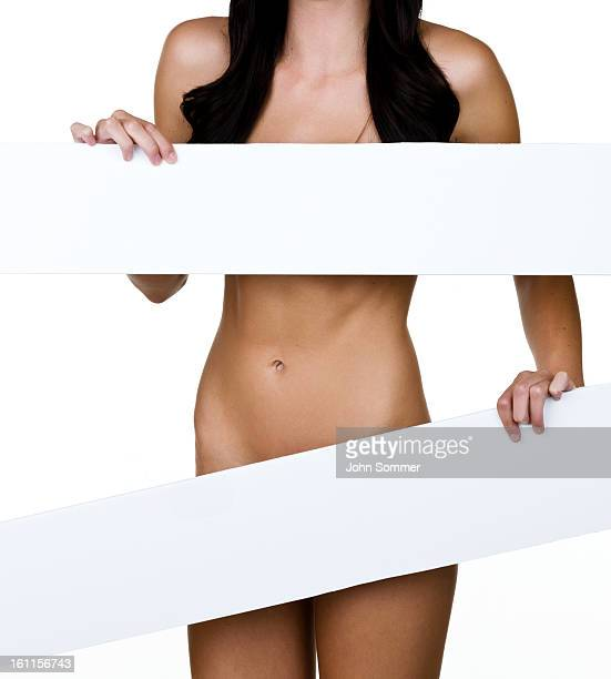 Woman covering herself with copy space