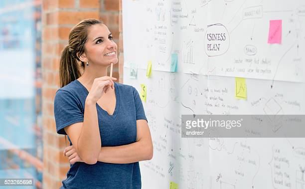 Woman creating a business plan and thinking