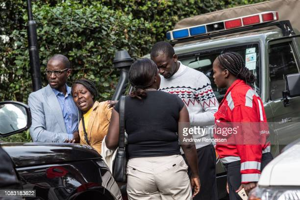 A woman cries after being rescued from the Dusit Hotel on January 16 2018 in Nairobi Kenya A security operation has continued into a second day after...