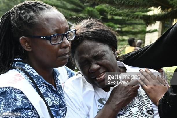 A woman cries after identifying the body of a relative at the Chiromo mortuary in Nairobi Kenya on January 16 2019 after a blast followed by a gun...
