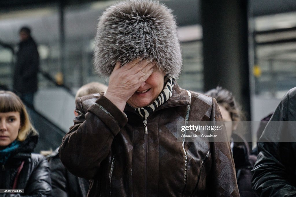 A woman cries near a 'memorial' to the victims of the Airbus A321 crash at the Pulkovo Airport on November 1, 2015 in St. Petersburg, Russia. A Russian Airbus-321 aircraft with 224 people aboard crashed in Egypt's Sinai Peninsula on Saturday. According to Egypts Civil Aviation Authority, the plane lost contact with air-traffic controllers shortly after taking off from the Egyptian Red Sea resort city of Sharm el-Sheikh en route to St. Petersburg.