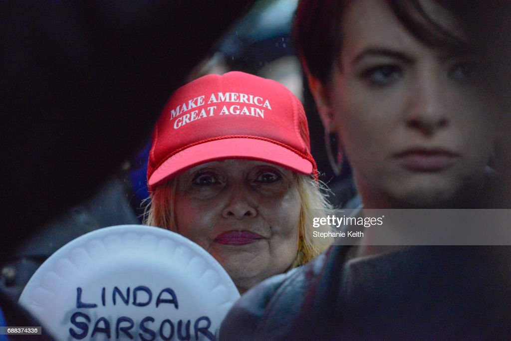 A woman critical of Muslim activist Linda Sarsour takes part in an Alt Right protest on April 25, 2017 in New York City.