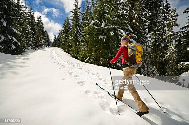 woman cross-country skiing - nordic skiing event stock pictures, royalty-free photos & images