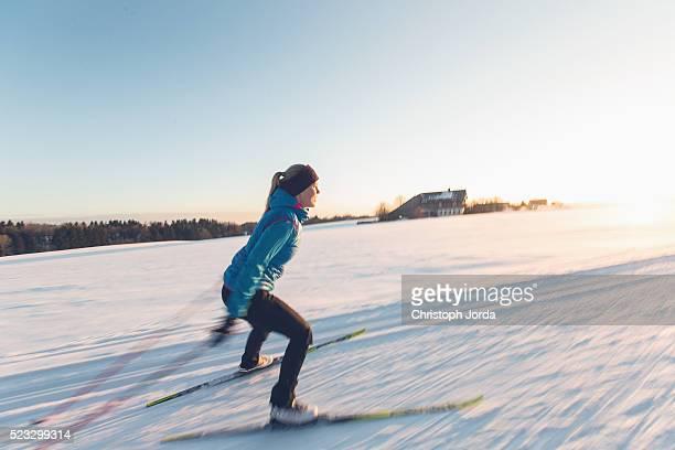 Woman cross-country skiing