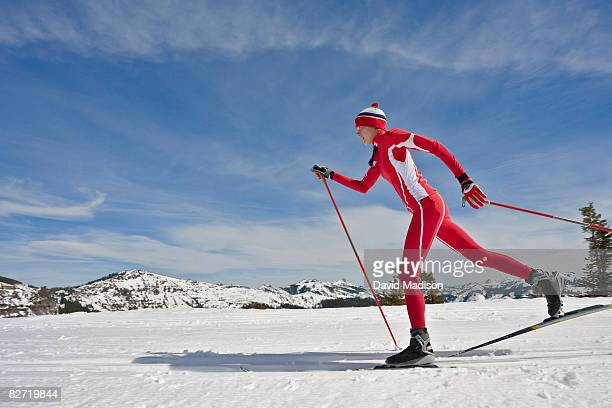 Woman cross-country skiing