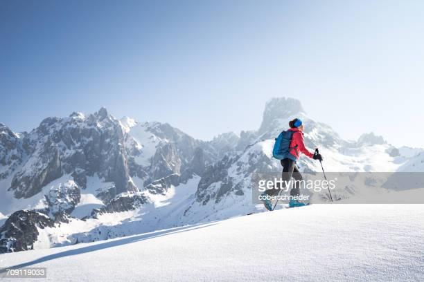 Woman cross-country skiing, Salzburg, Austria