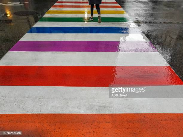 woman crossing multi coloured zebra crossing - multi colored shoe stock pictures, royalty-free photos & images