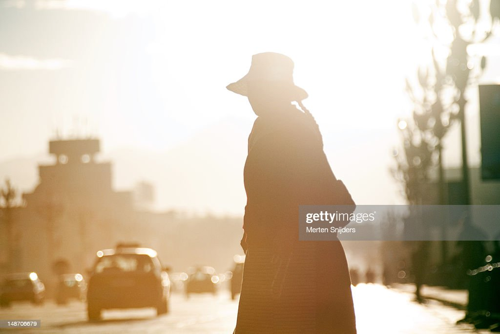Woman crossing road in early morning light on Beijing Middle Road opposite Potala Palace. : Stockfoto