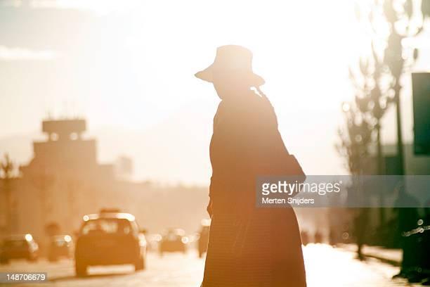 woman crossing road in early morning light on beijing middle road opposite potala palace. - merten snijders stockfoto's en -beelden