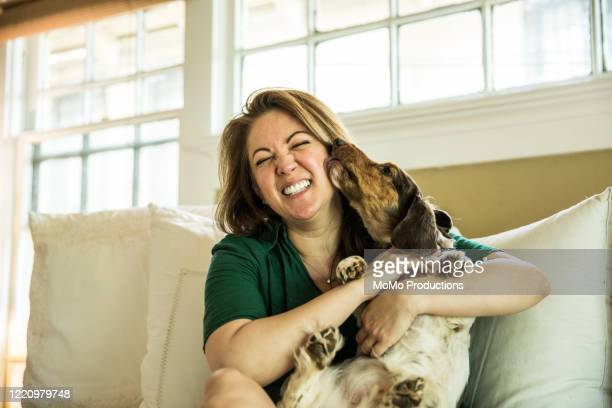 woman cuddling in bed with dog - authenticity stock pictures, royalty-free photos & images