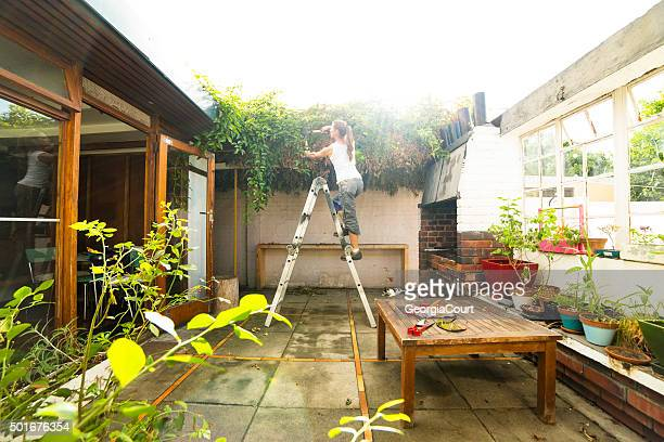Woman Cuts Overgrown Creepers in Courtyard