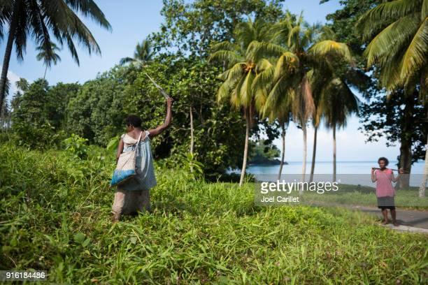 Woman cutting brush with machete in Papua New Guinea