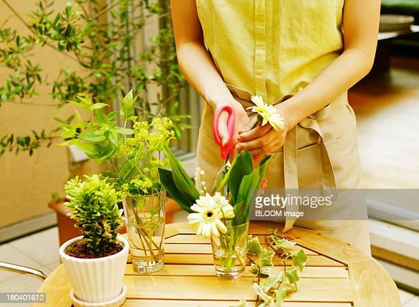 Woman Cutting Flower