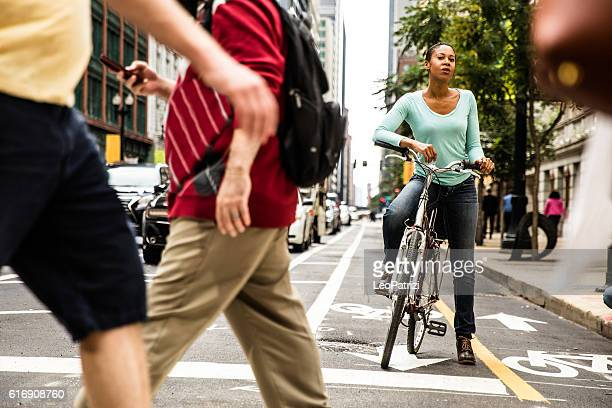 Woman cycling in Chicago