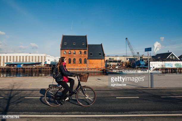 Woman cycling on Copenhagen street