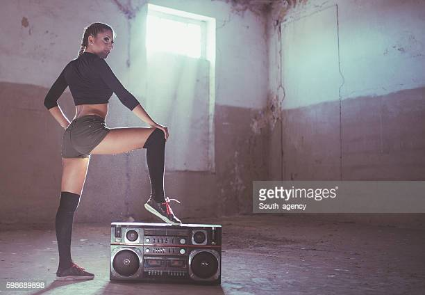 Woman dancer by radio