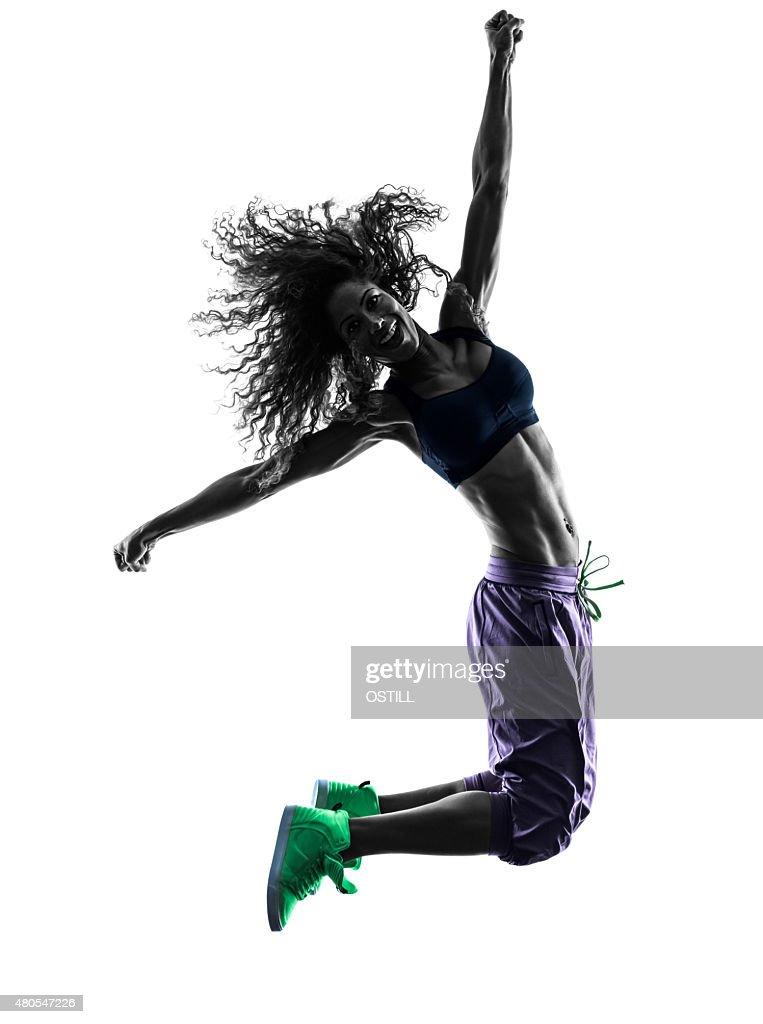 woman  dancer dancing exercises silhouette : Stock Photo