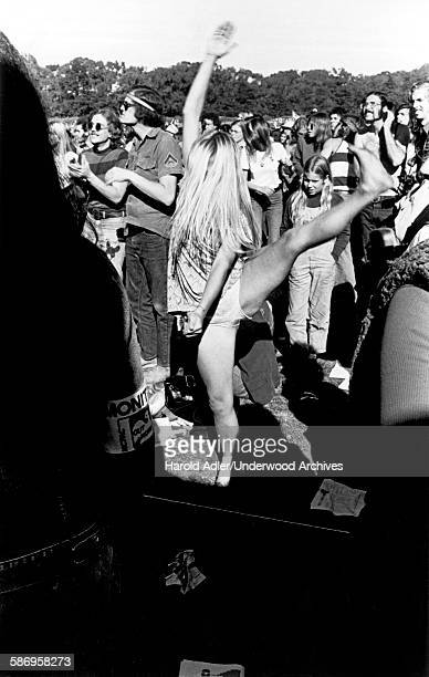 A woman dances at an antiVietnam War demonstration in Golden Gate Park San Francisco California late 1960s