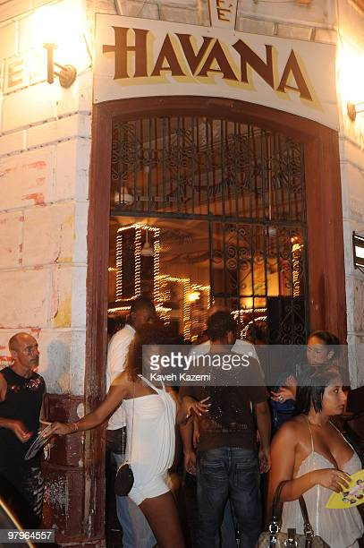 CARTAGENA of INDIAS COLOMBIA JANUARY 29 2010 A woman dances outside 'Cafe Havana' the most popular bar in the city Cartagena de Indias was founded on...