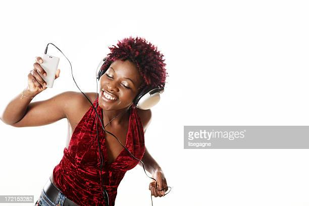 Woman dancing and listening music
