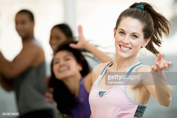 Woman Dancing in a Workout Class