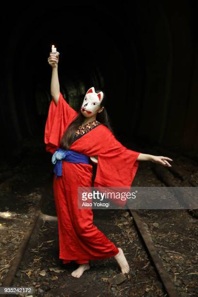 a woman dancing in kimono - actress stock pictures, royalty-free photos & images