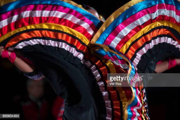 Woman dancing Son de la Negra Mexican folk dance Detail skirt International festival of folk dances El Buen Pastor School municipality of Los Olivos...