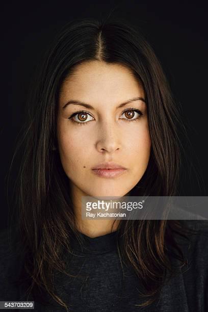 woman dark background portrait