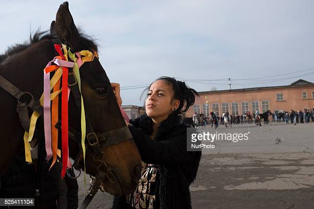 A woman decorates her horse as Bulgarian Roma celebrate Horse Easter in the Fakulteta neighborhood of Sofia on February 28 2015 Every year on St...