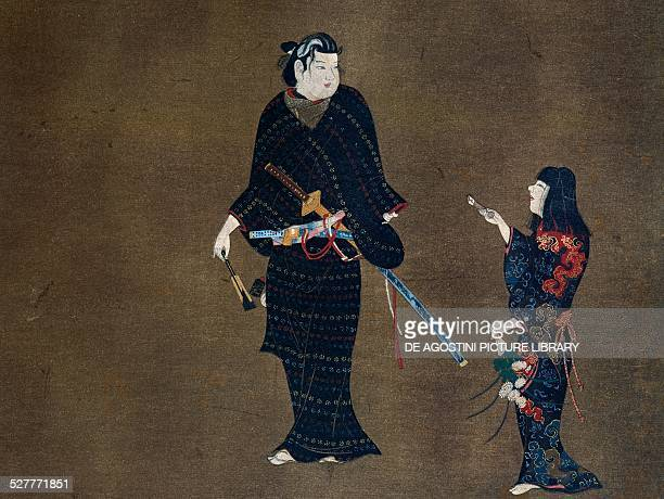 Woman delivering a love letter to her master detail from a screen Japan Edo period 17th19th century Nagoya Museo D'Arte Tokugawa