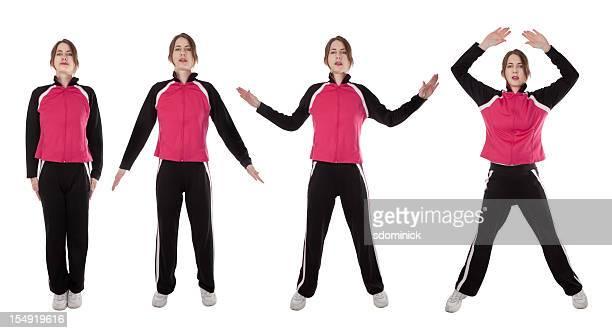 frau zeigen, jumping jacks - trainingsanzug stock-fotos und bilder