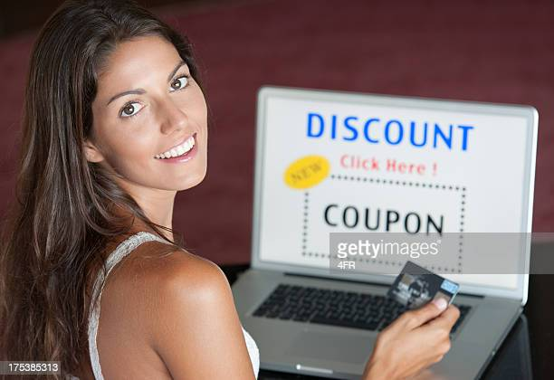 Woman Discount Shopping Online with her Credit Card (XXXL)
