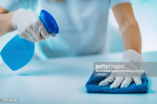 woman disinfecting surface - clean stock pictures, royalty-free photos & images