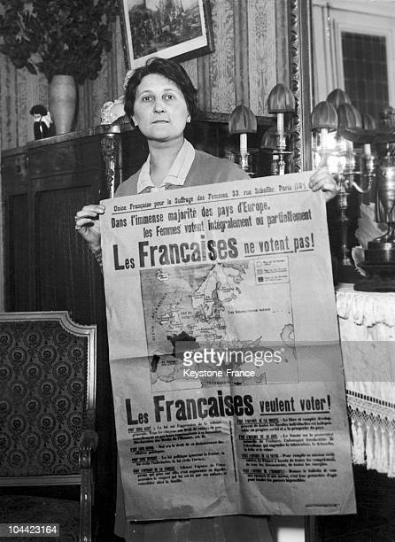 Woman Displaying A Map Of Europe Belonging To The French League Of Women'S Suffrage Emphasizing The Countries Where Women Had The Right To Vote And...