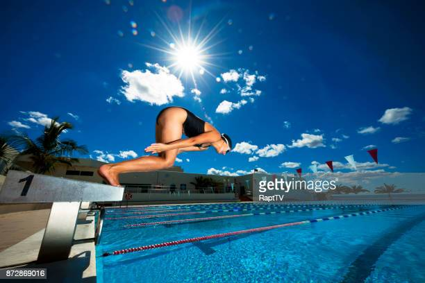 a woman diving into an outdoor swimming pool. - length stock pictures, royalty-free photos & images