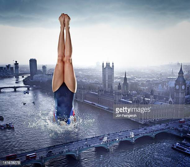 Woman Diving into River