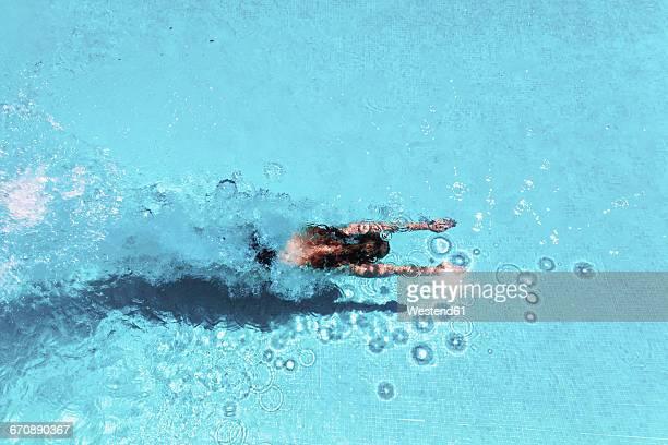 woman diving underwater in swimming pool - piscina pubblica all'aperto foto e immagini stock