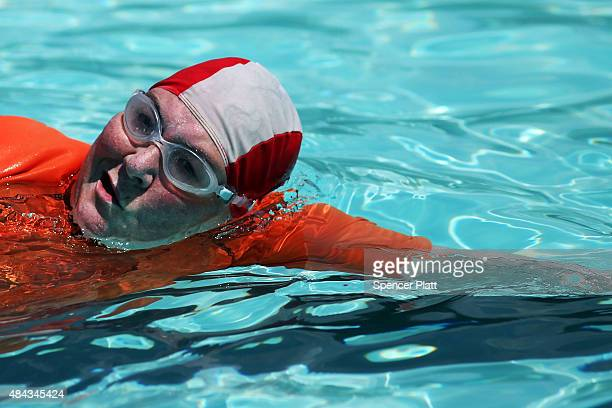 A woman does laps on a hot afternoon at the Astoria Pool in the borough of Queens on August 17 2015 in New York City The main pool the biggest in New...