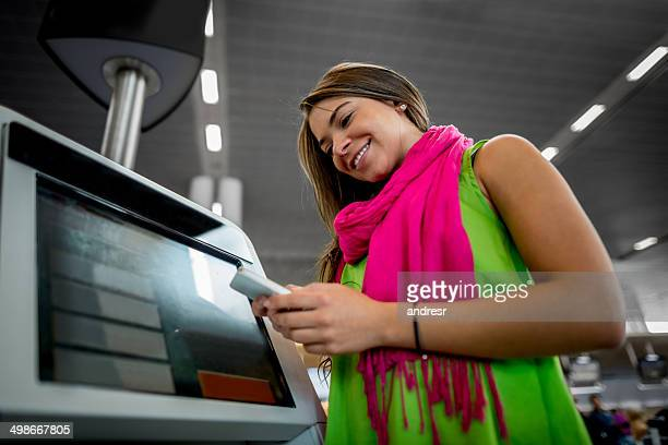 Woman doing check-in online