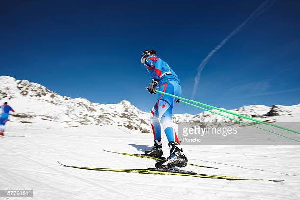 Woman doing cross-country skiing competition