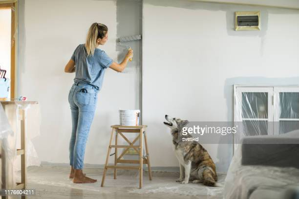 woman doing diy project in apartment - dipinto foto e immagini stock