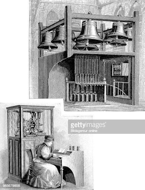 woman doing Glockenspiel concert bells orchestral bells bells musical instrument job profession Digital improved reproduction of an original...