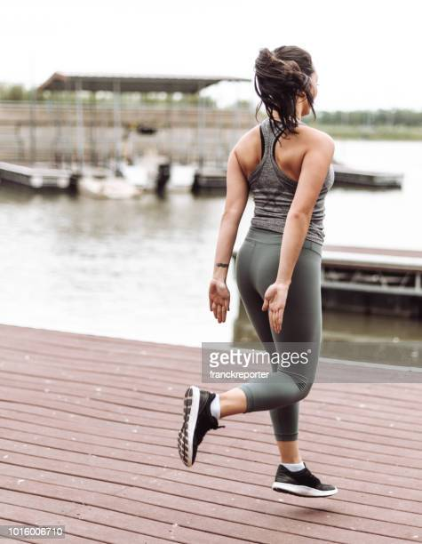 woman doing skip fitness - skipping along stock pictures, royalty-free photos & images