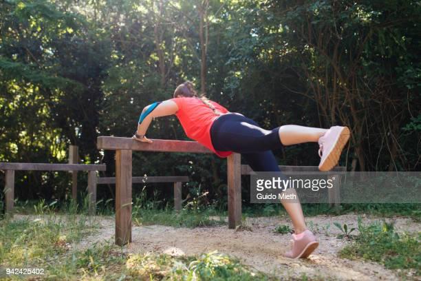 Woman doing sport outdoor.