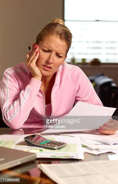 Woman doing tax return