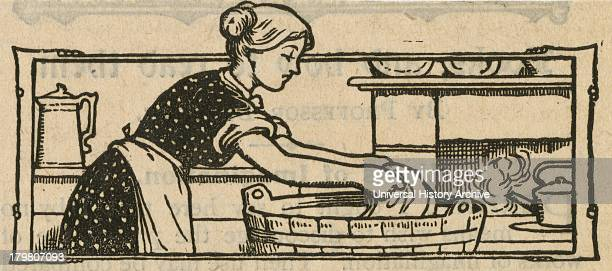 Woman doing the washing in a tub Engraving1904
